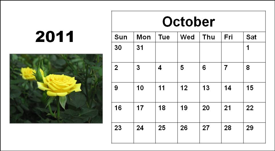 October 2011 Calendar. Blank Calendar 2011 October or