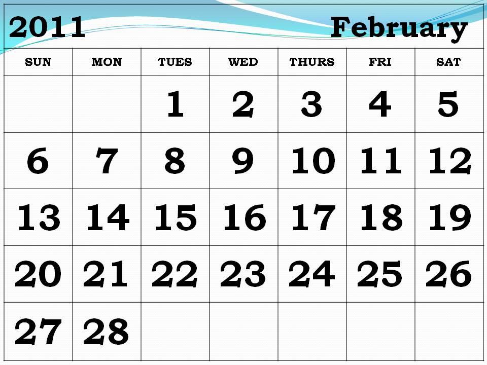 printable february calendar 2011. Free Printable February 2011