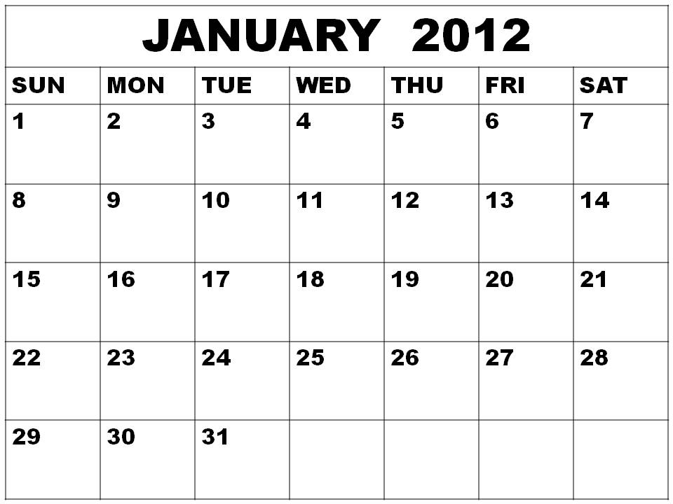 january calendar 2012