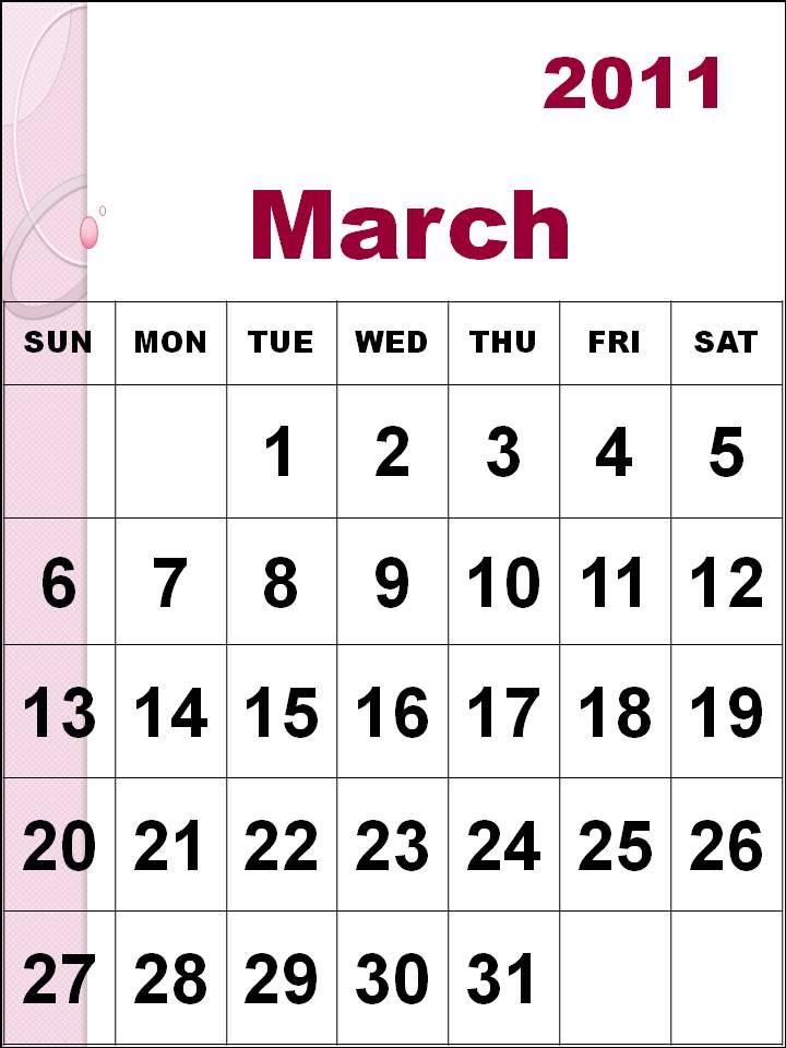 2011 march calendar printable. Free Printable March 2011
