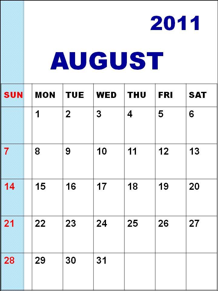 blank calendar 2011 august. august 2011 blank calendar.