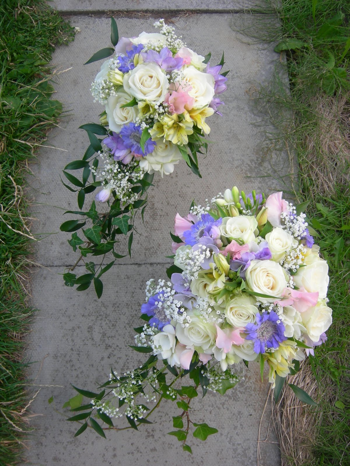 Summer Pastel Wedding Bouquet In Pink Blue White And Lemon