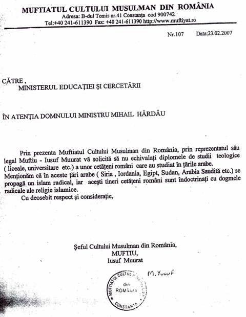 Adresa muftiatului la MEC