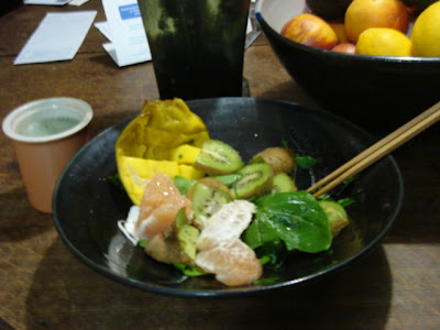 food, kiwi, mango, spinach leaves and grapefruit.
