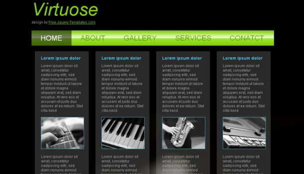 Black Green Music CSS Website Template