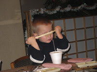R makes good use of his chopsticks