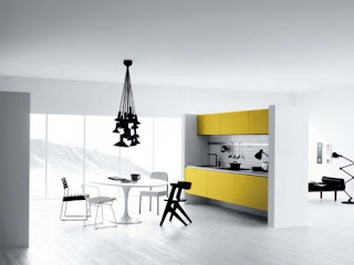 Cool White, Yellow, Black Kitchen Designs for Minimalist Style Interior
