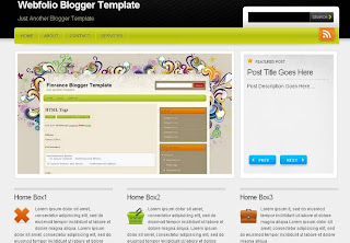 Free Blogger Template - Webfolio - magazine style, portfolio blog, white, black with blue and green, social bookmarking, 3 column footer, navigation menu, search box