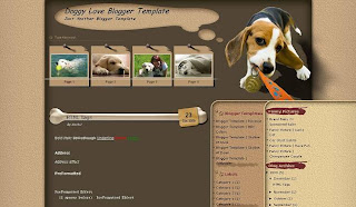 Free Blogger Template - Doggy Love - 3 columns, 2 right sidebars, brown,search box, rss link, dogs, pets