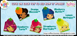 McDonalds Strawberry Shortcake Happy Meal Toys 2010 - New Zealand and Australia release
