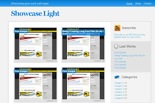 Free Blogger Template Showcase Light - 2 columns, white, blue, rss link, navigation menu, clickable thumbnail images, photo blog