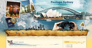 Postage Sydney - Free Blogger Template - 2 columns, right sidebar, personal blog, travel blog, blue and yellow
