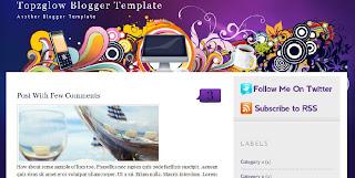 Free Blogger Template - Topzglow  - 2 columns, right sidebar, purple, white, girly theme