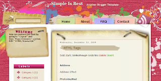 Simple is Best - Free Blogger Template suitable for scrapbooking - 2 columns, left sidebar, fixed width, white, pink, 2 column footer, scrapbooking theme, personal blog