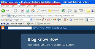 How Blogger Title Tags are viewed in an IE browser