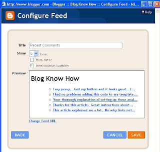 Preview of Comments Feed for Blog Know How Blogger Blog