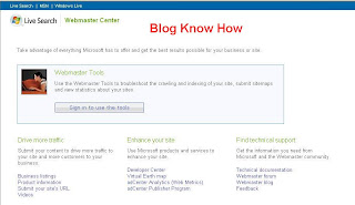 MSN Live Search Webmaster Center Home Page