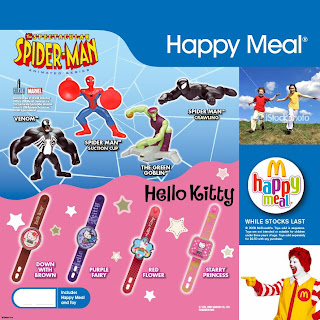 McDonalds Spider-man and Hello Kitty Promotion Feb/March 2009
