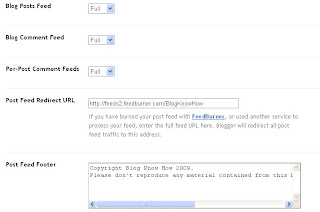 Blogger Site Feed Configuration for Feedburner Redirect