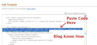 Add Feedburner FeedFlare Code into Your Blogger Template
