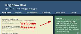 Add Welcome Message to Blogger