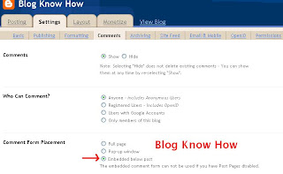 In Blogger Settings Comments Set Comments to Embedded