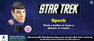 Burger King Star Trek Kids Meal Toy Promotion 2009 - Spock Figure