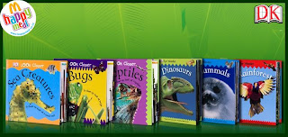 McDonalds DK Eye Wonder Books 2009 Promotion: reptiles, dinosaurs, mammals, bugs, sea creatures, rainforest