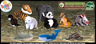 McDonalds Endangered Animals Happy Meal Promotion 2008 - Set of 10 Toys including Bengal Tiger,African Elephant,Polar Bear, Blue Whale, Giant Panda, Bilby, Snubfin Dolphin, Red-Tailed Black Cockatoo, Leatherback Turtle, Yellow-footed Rock Wallaby