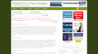 Free Blogger Template - Passion Duo Green theme - 3 column, ads ready, white, green, banners, rss link, pre-installed widgets, search box