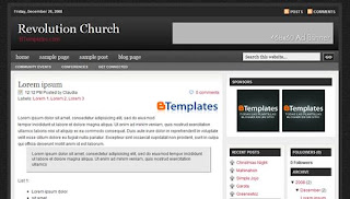 Free Blogger Template - Revolution Church theme - 3 column, white, red, black, rss link, search box, fixed width, navigation menu