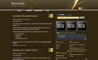 Free Blogger Template - Brownline Free Blogspot theme - 3 column, brown, rss link, subscribe link, search box, fixed width