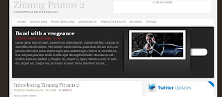Best Free Blogger Template -Zinmag Primus 2.0 - 3 columns, white, rss link, subscribe link, search box, fixed width, twitter updates, navigation menu, adsready, content slider, video section, footer gadget section