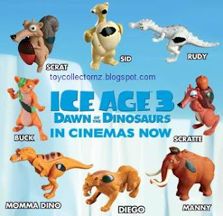 McDonalds Ice Age 3 Dawn of the Dinosaurs New Zealand Toy Release 2009 - 8 toys to collect Sid, Buck, Scrat, Scratte, Manny, Diego, Rudy, Mamma Dino