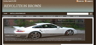 Revolution Brown - Free Blogger Template - 3 column, navigation menu, search box, content and image slider, highlight reel in sidebar, automatic thumbnail image for all posts on home page