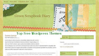 Green Scrapbook Diary - Typebased - Free Wordpress Theme - Template - 3 column design