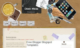 Desk Mess - Free Blogger Template, 2 columns, fixed width, right sidebar, Adapted from Wordpress, navigation menu bar, brown and white, desktop theme