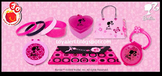 McDonalds Toys - Barbie 2009 promotion - Barbie Lip Gloss Compact, Barbie Clutch Notebook, Barbie Mirror Compact with Comb, Barbie Fashion Container with Ring,Barbie Jewelry Kit (Bracelets),Barbie Purse Notebook