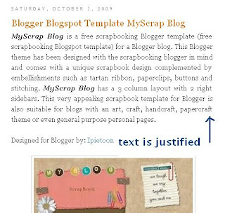 Blogger post text is justified