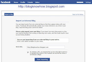 Facebook - Import a Blog Screen