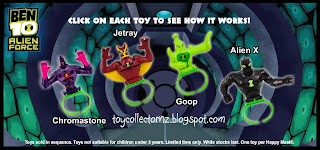 McDonalds Ben 10 Alien Force Happy Meal Toys - New Zealand and Australia release - set of 4 - Goop, Jetray, Chromastone and Alien X