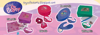 McDonalds Littlest Pet Shop Happy Meal Toys - New Zealand and Australia release - set of 4 accessories: writing kit, diary kit, beauty kit and hair kit