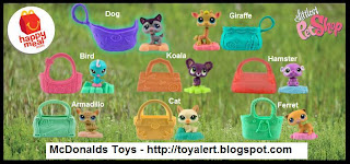 McDonalds The Littlest Pet Shop Happy Meal Toy Promotion 2010 - Set of 8 toys - Dog, Cat, Giraffe, Koala, Bird, Ferret, Hamster, Armadillo