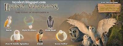 Burger King Legends of Guardians toys - Owls of Ga'hoole - set of 6 cool toys to collect - Kludd, Soren, Metal Beak, Nyra Necklace, Pose'n Cuddle Eglantine, Soren Cufflet