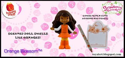 McDonalds Strawberry Shortcake Happy Meal Toy Promotion 2010 - Orange Blossom with notepad and pencil