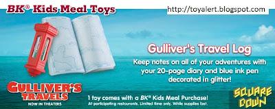 Burger King Gullivers Travels Kids Meal Toys - Gulliver's Travel Log