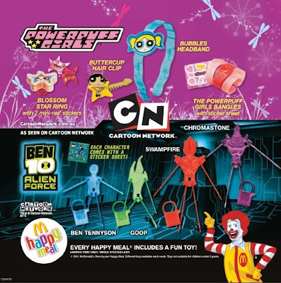 McDonalds Ben 10 Alien Force and Powerpuff Girls happy meal toy promotion in Australia and New Zealand 2011