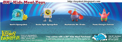 Spongebob's Legends of Bikini Bottom kids meal toys - US release - 6 toys - Surfing SpongeBob, Scuba Spin SpongeBob, Backstroke Mr Krabs, Pants Changing Patrick,