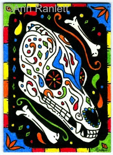 Dog of the Dead - ink & color pencil ACEO by Ann Ranlett