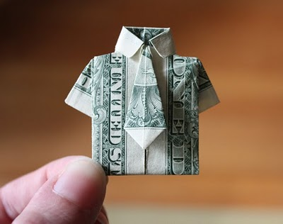 dollar bill origami shirt. dollar bill origami ring. and